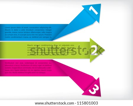 Origami label set with arrow and text - stock vector