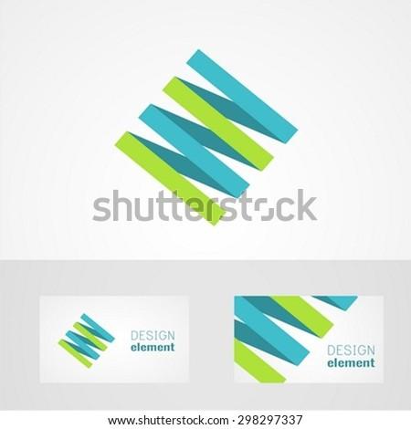 Origami logo design template - stock vector