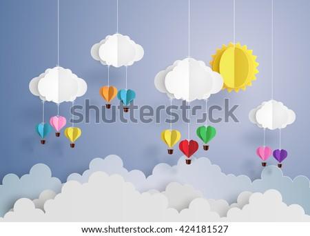 Origami made hot air balloon in a heart shape. - stock vector