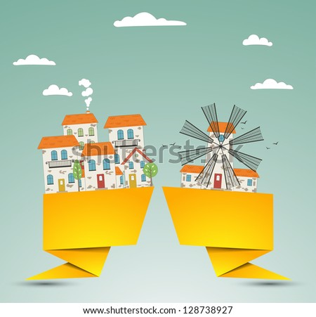 Origami Old city background. Vector - stock vector