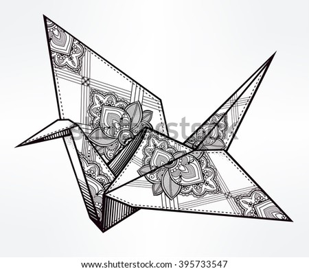 Origami  ornate crane bird. Paper crane stylized triangle polygonal model with paisley details . Hand drawn isolated vector illustration. Invitation element. Tattoo, oriental, boho, hope symbol. - stock vector