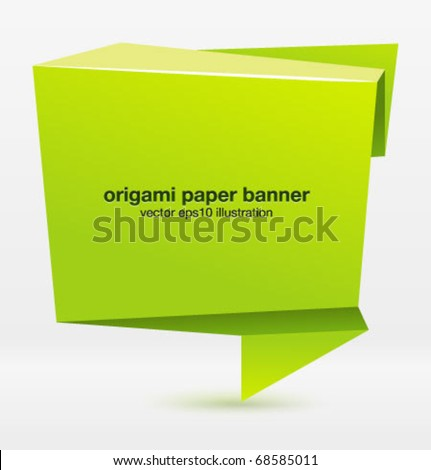 Origami paper banner for your design. Vector. - stock vector