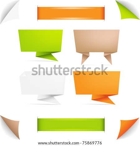 Origami Paper Banner, Isolated On White Background, Vector Illustration - stock vector