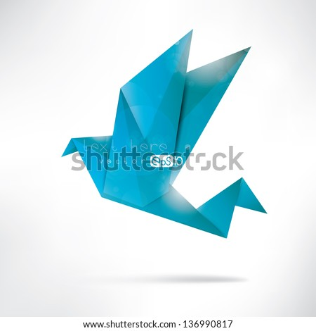 Origami paper bird on abstract background - stock vector