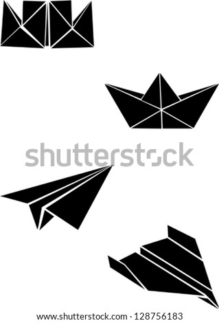 Origami paper boats and planes - stock vector