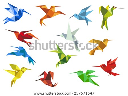 Origami paper hummingbirds design elements with flying colorful abstract colibry for logo or emblem - stock vector