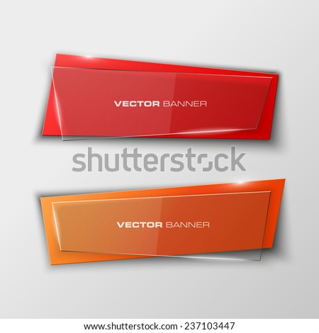 Origami paper infographic colorful banners set. Design shape. Vector label tag. - stock vector