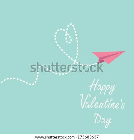 Origami paper plane. Dash heart in the sky. Happy Valentines day card. Vector illustration. - stock vector