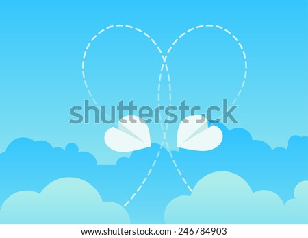 Origami paper plane with big dash heart in the sky. Vector illustration. - stock vector