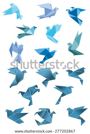 Origami paper stylized blue flying pigeon and dove birds set, isolated on white, for peace and freedom concept design - stock vector