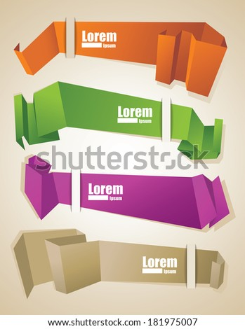 Origami Ribbon Vector Set - stock vector