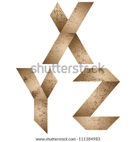 Origami style alphabet with rusty grunge texture, letters x, y, z. - stock vector