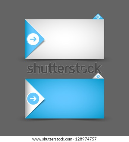 Origami style notification window or paper background document template - stock vector