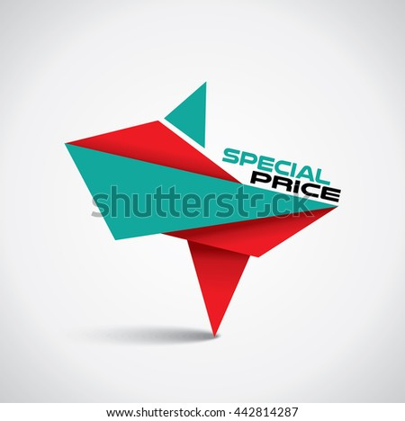 Origami style special price bubble with red and green colors - stock vector