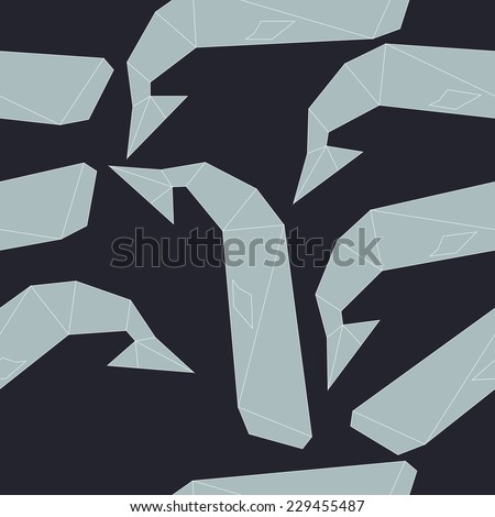 Origami whale pattern - stock vector