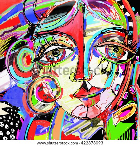 original abstract digital painting of human face, colorful composition in contemporary modern art, perfect for interior design, page decoration, web and other, vector illustration - stock vector
