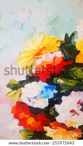 Original abstract hand draw oil painting composition. Floral vector illustration. Bright flowers (chrysanthemum, asters). - stock vector