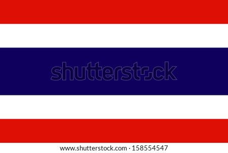 original and simple Kingdom of Thailand flag isolated vector in official colors  and Proportion Correctly THAI The Thailand is a member of Asean Economic Community (AEC) - stock vector