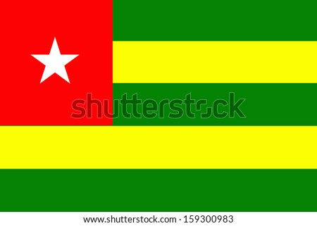 original and simple Togo flag isolated vector in official colors  and Proportion Correctly - stock vector