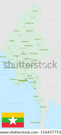 original and simple Union of Myanmar or Burma map and flag isolated vector in official colors  and Proportion Correctly The Myanmar or Burma is a member of Asean Economic Community (AEC) - stock vector