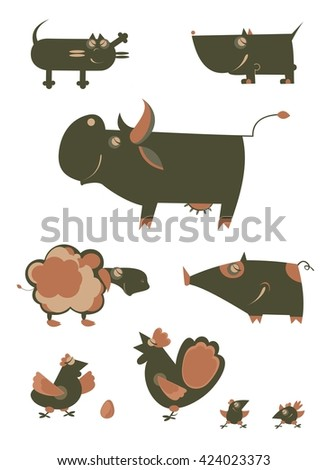 Original art farm animal  vector illustration collection for design - stock vector