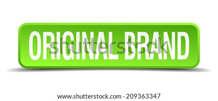 original brand green 3d realistic square isolated button - stock vector
