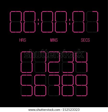 Original digital number set - stock vector