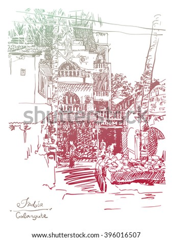 original drawing of India Goa Calangute Baga landscape point-of-sale street, travel sketch, touristic postcard or poster, vector illustration - stock vector