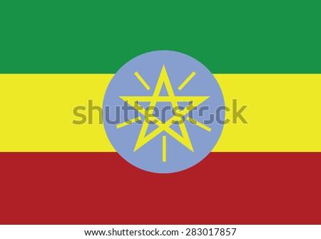 original Flag of Ethiopia - stock vector