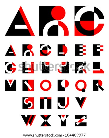 original geometric alphabet - stock vector