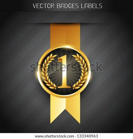 original golden vector badge label - stock vector