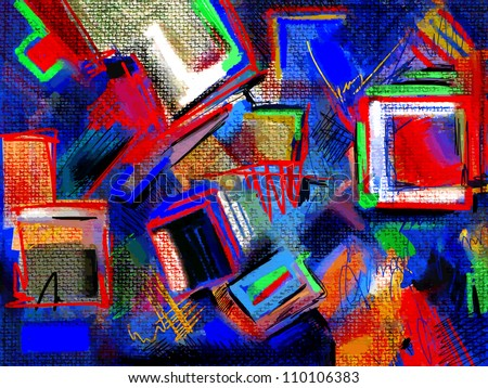 original hand draw abstract digital painting composition - stock vector