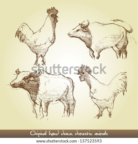 Original hand drawn domestic animals - stock vector