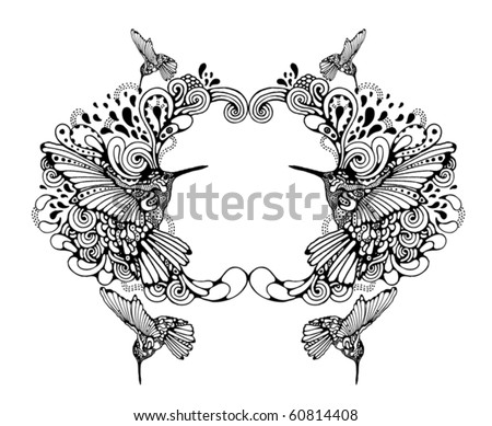 Original hand-drawn frame with hummingbird - stock vector