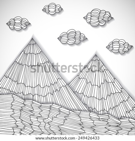 Original hand drawn mountains cut of paper, vector eps10 illustration - stock vector