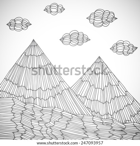 Original hand drawn mountains, vector eps10 illustration - stock vector
