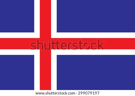 Original Iceland flag vector in official format and true colors. - stock vector
