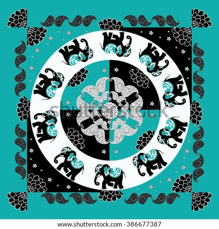 Original indian pattern with ten elephants, flowers and paisley. Bandana print. Silk neck scarf. Summer kerchief square background. Template for pillowcase, cushion, bedding. - stock vector