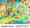 original oil painting of summer landscape. I am author of this illustration. Vector version - stock vector