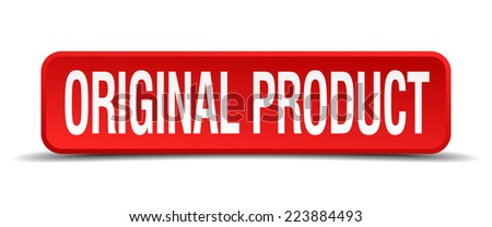 original product red 3d square button isolated on white - stock vector