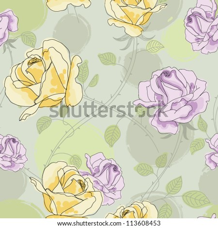 Original seamless floral pattern with romantic roses - stock vector