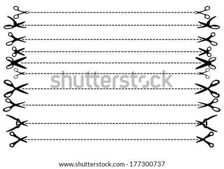 "Original silhouettes of Vector scissors with ""Cut Here"" dashed lines - stock vector"