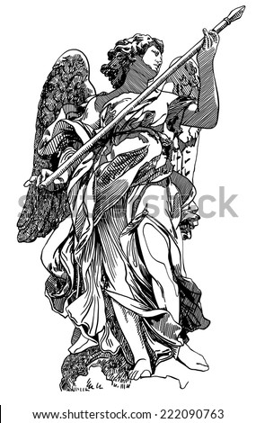 original sketch digital drawing of marble statue of angel from the Sant'Angelo Bridge in Rome, Italy, vector illustration - stock vector