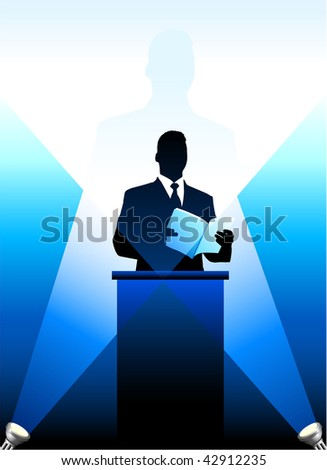 Original Vector Illustration: Business/political speaker silhouette background AI8 compatible - stock vector