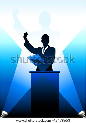 Original Vector Illustration: Business/political speaker silhouette behind a podium  File is AI8 compatible - stock vector