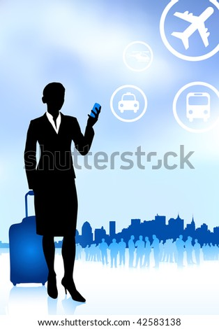 Original Vector Illustration: businesswoman traveler with luggage on skyline background AI8 compatible - stock vector
