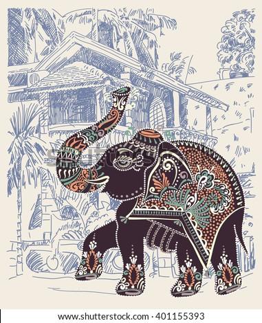 original vector illustration of India Goa Baga landscape with decorative ethnic folk art elephant, travel vacation postcard or poster concept design - stock vector