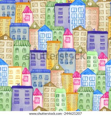 Original watercolor painted houses in Amsterdam architecture style. Colorful seamless pattern, vector illustration. Can be used for cute kids print or textile design. - stock vector