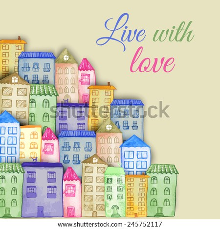 Original watercolor painted houses in Amsterdam architecture style. Colorful vector illustration. Can be used for cute print design for greeting holiday card or fashion design. - stock vector