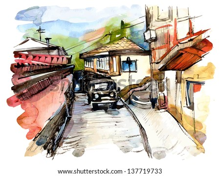 original watercolor painting on paper of old street of Gurzuf, Crimea, Ukraine, plein air painting, vector version - stock vector